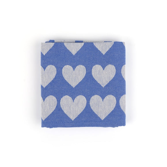 Tea Towel - Hearts Royal Blue