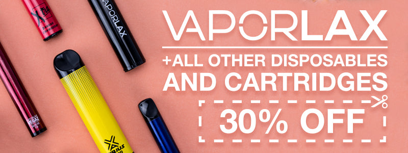 Get 30% off VaporLax and all disposables on our online vape shop