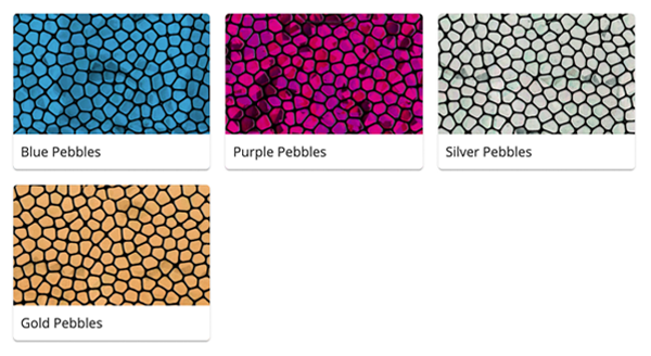 Material Swatches for each Pebbles style Mi-Pod Device