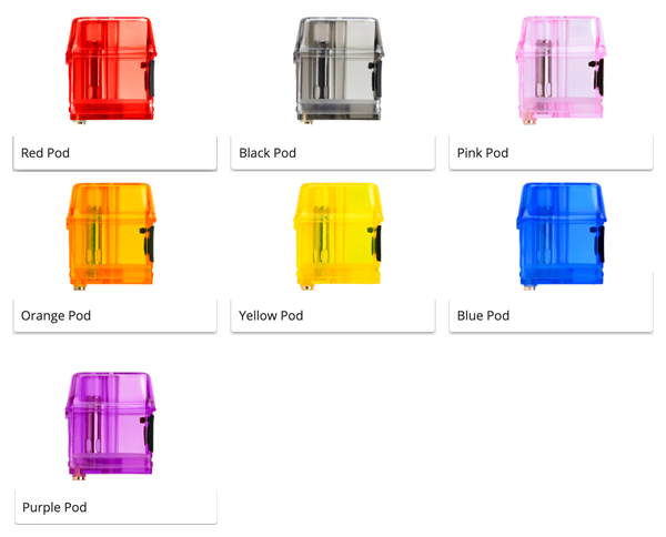 Color Swatches for each colored PRO Pod with Mi-Pod Customs