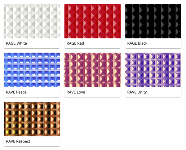 Material Swatches for each Studded style Mi-Pod Device