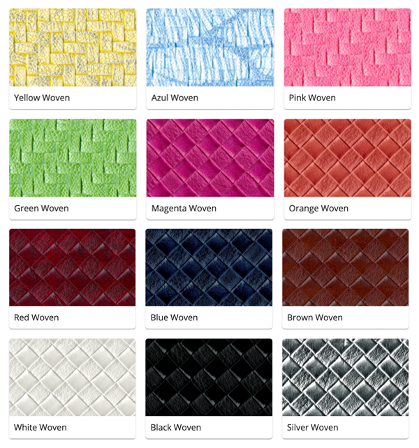 Material Swatches for each Woven style Mi-Pod Device