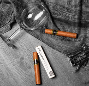 ecigar with wine glass