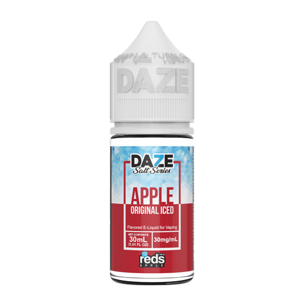 Original tasting Reds apple vape juice, nicotine salts available in 30mg by 7 daze