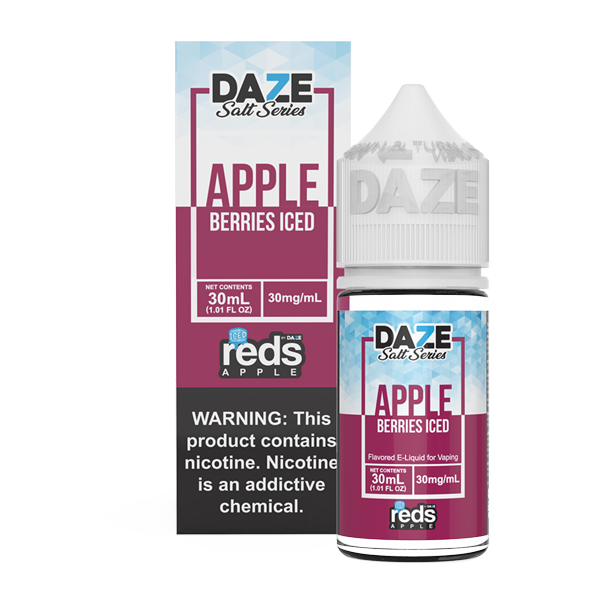 Apple and berry flavored vape juice in 30mg for pod systems, made by 7 daze