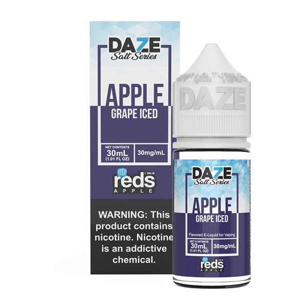 Apple and grape flavored vape juice in 30mg for pod systems, made by 7 daze