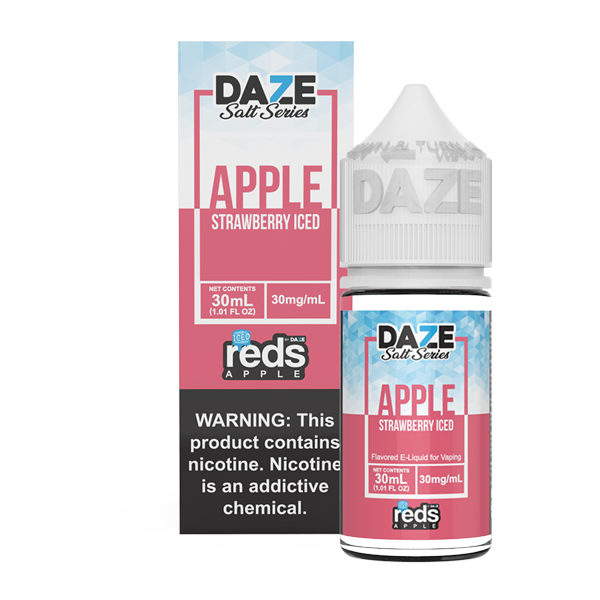 Apple and strawberry flavored vape juice in 30mg for pod systems, made by 7 daze