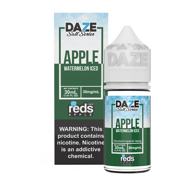 Apple and watermelon flavored vape juice in 30mg for pod systems, made by 7 daze
