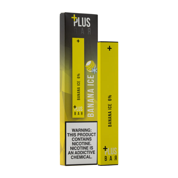 A DISPOSABLE VAPE BAR BY PLUS BAR FLAVORED WITH BANANA AND MENTHOL IN 60MG