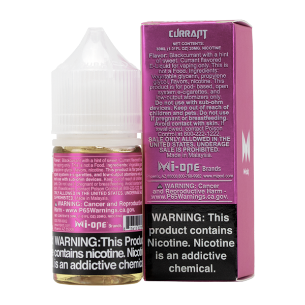 A best-selling fruity pod juice, Currant Mi-Salts is available in 20mg & 40mg