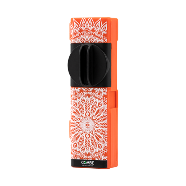 An all-in-one grinder for dry herbs, available here in the Orange Mandala option