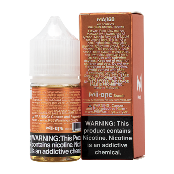 A best-selling fruity pod juice, Mango Mi-Salts is available in 20mg & 40mg