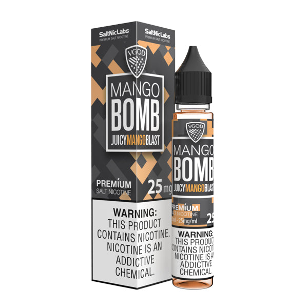 Nicotine salts flavored with a splash of mango in 25mg, Mango Bomb SaltNic is a V-GOD Eliquid