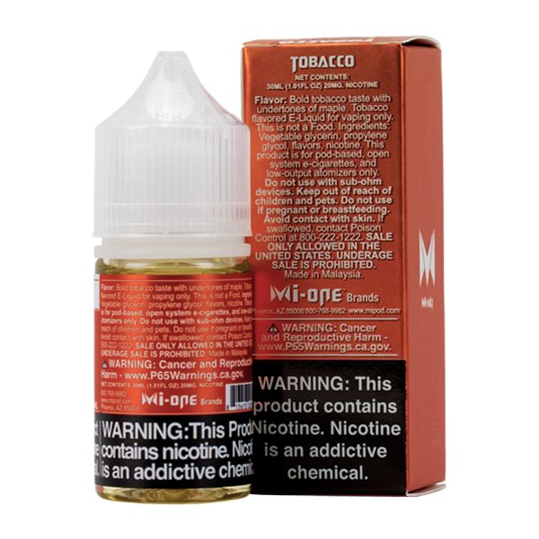 A best-selling classic tobacco pod juice, Tobacco Mi-Salts is available in 20mg & 40mg