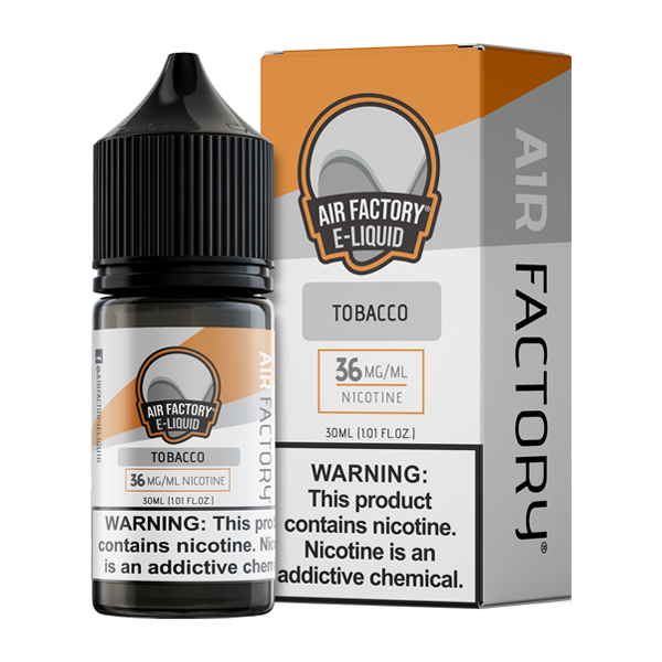 Tobacco is a bold tobacco flavored vape juice from Air Factory, blended with nicotine salts