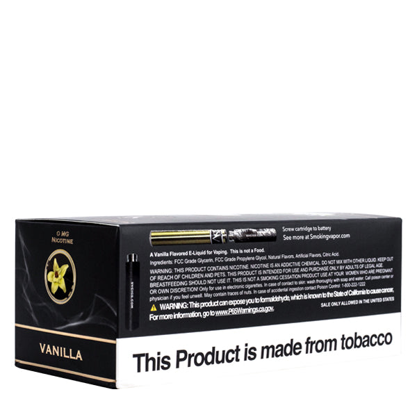 Made with low milligrams of nicotine, vape cartridges flavored with vanilla e-liquid