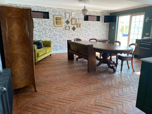 Rustic Unsealed Herringbone Tiles 75x300x20mm
