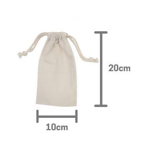 Natural Calico Cotton Bag 10cm x 20cm with drawstrings