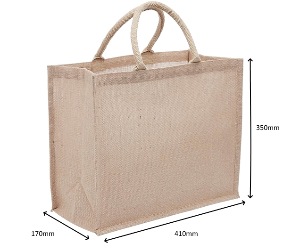 Large Jute Bag With Wide Gusset - Natural