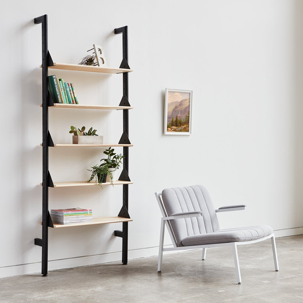 Gus* Modern | Black Uprights/Black Brackets/Blonde Shelves