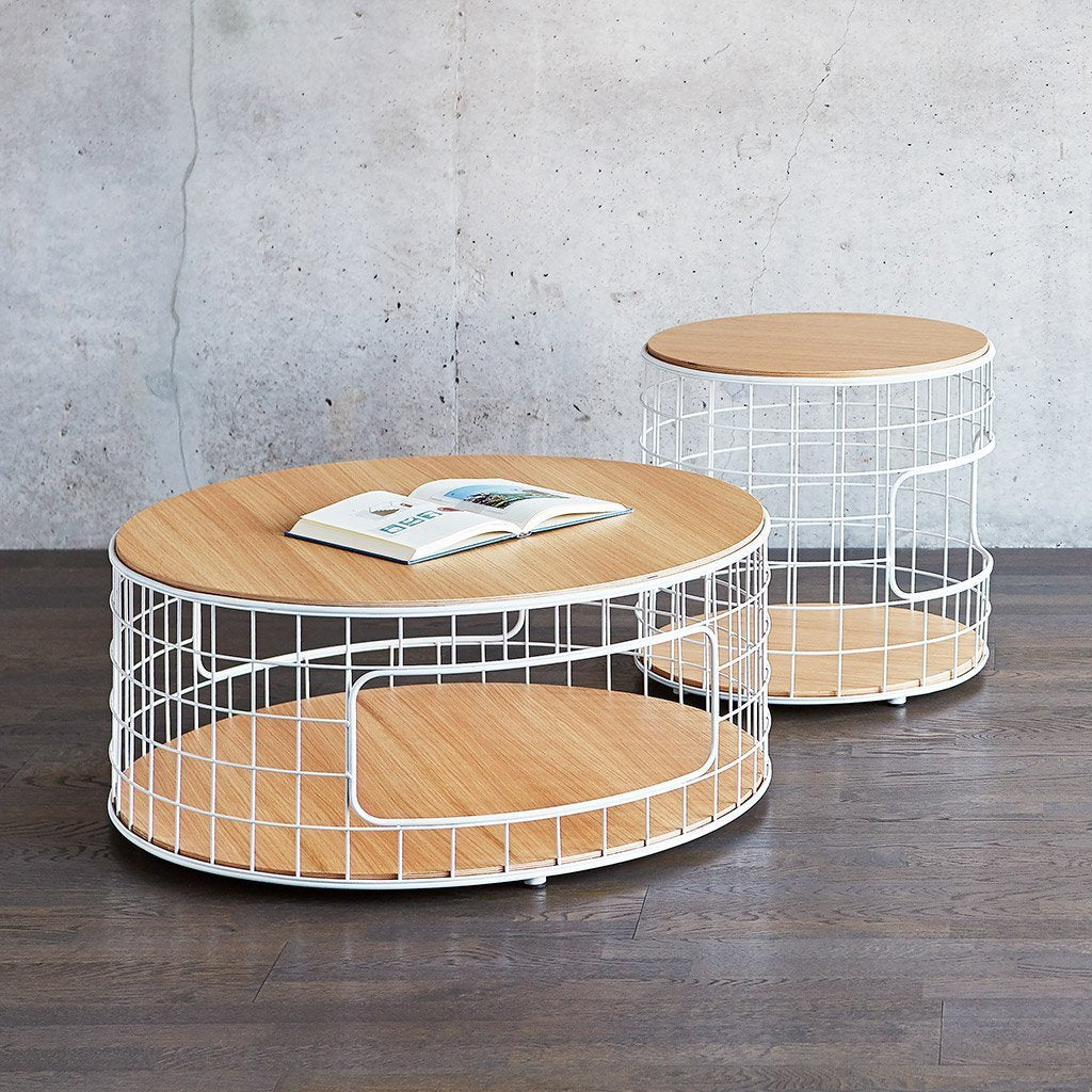 Wireframe Coffee Table & End Table | White & Natural Oak