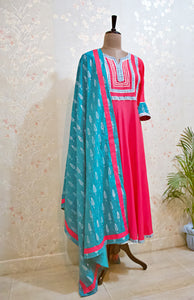 Pink Sea Blue Silver Suit Set - Qamsin