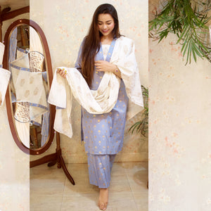 Pastel Blue Golden Butta Suit Set - Qamsin