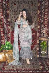 Grey Mahroon Butta Sharara Set - Qamsin