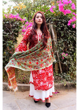 Load image into Gallery viewer, Crimson Red Chanderi Suit Set - Qamsin