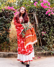Load image into Gallery viewer, Crimson Red Chanderi Suit Set - Pink Official