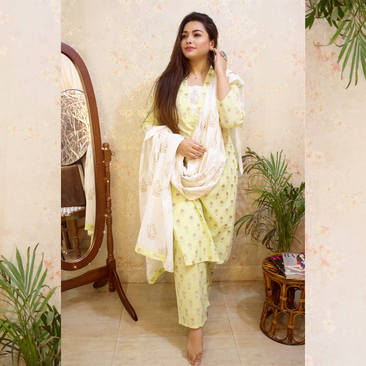 Pastel Yellow Golden Butta Suit Set - Pink Official