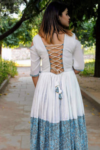 White Blue Backless Dress - Pink Official