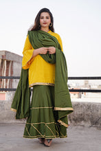 Load image into Gallery viewer, Mustard Green Sharara Set - Pink Official