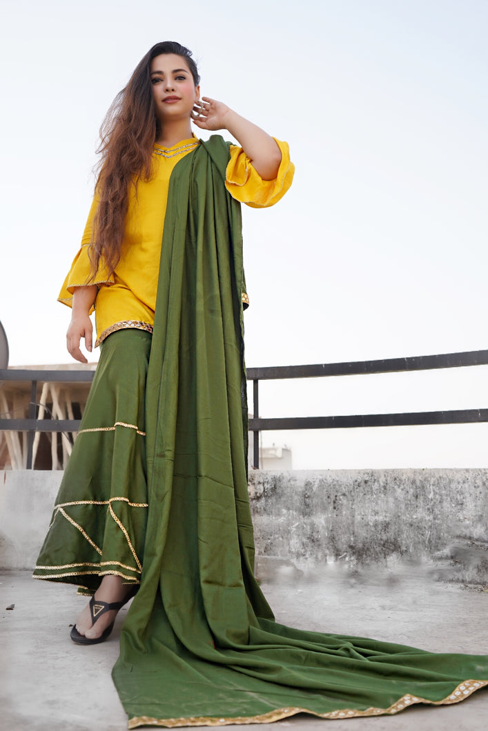 Mustard Green Sharara Set - qamsin-a-timeless-beauty
