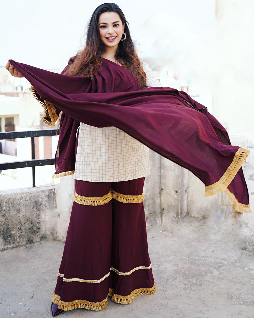 Gold Checks Burgundy Sharara Set - Qamsin