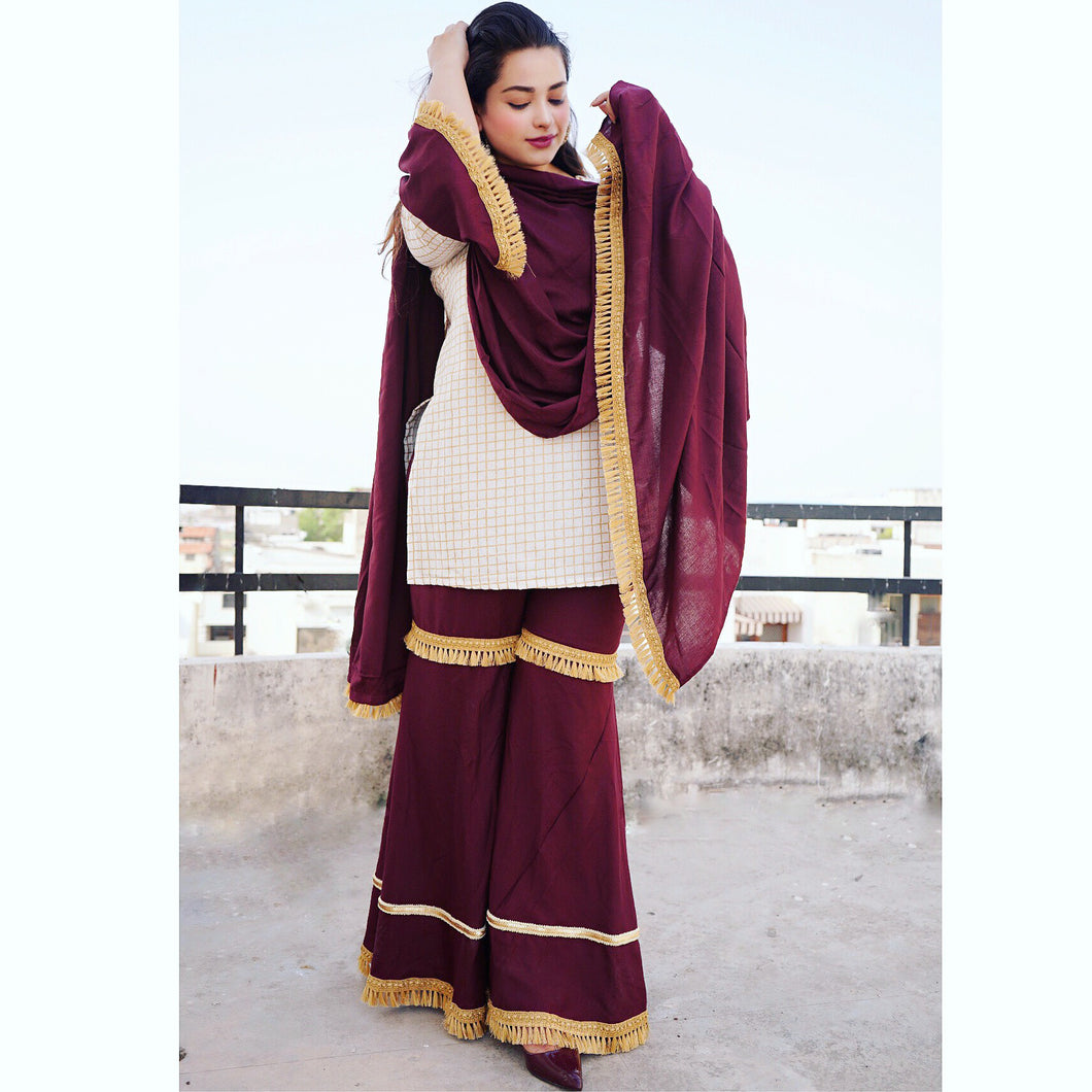 Gold Checks Burgundy Sharara Set - qamsin-a-timeless-beauty