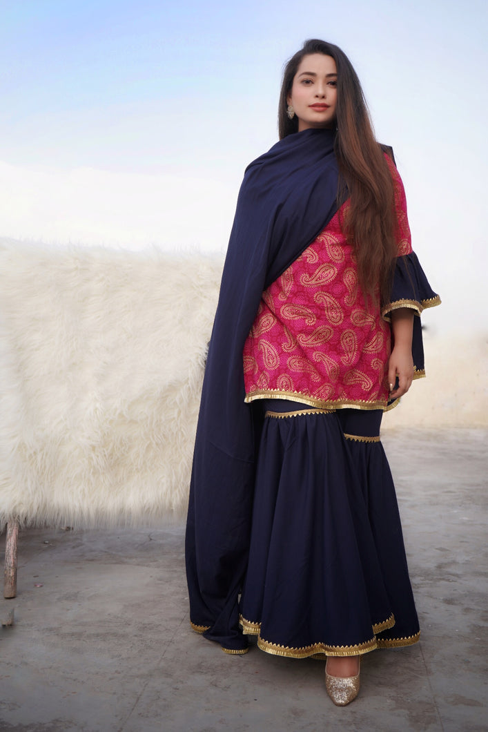 Block Pink Navy Sharara Set - qamsin-a-timeless-beauty