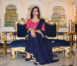 Block Pink Navy Sharara Set - Pink Official