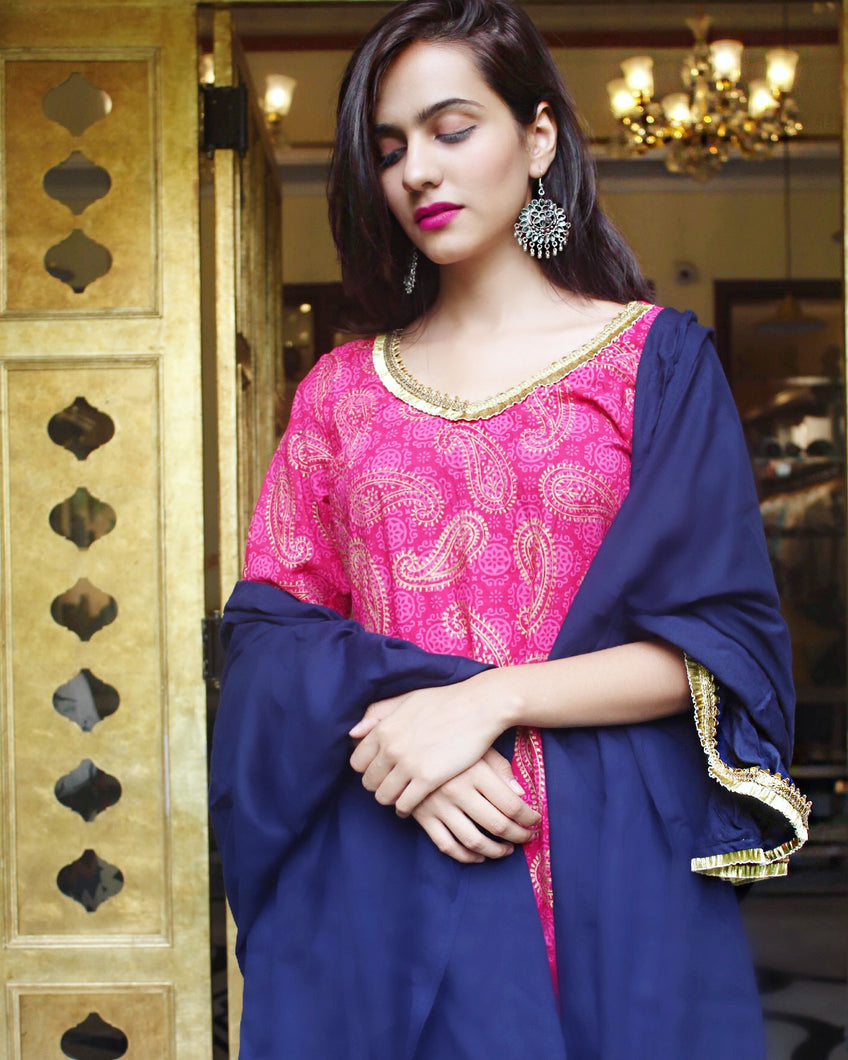 Block Pink Navy Sharara Set - Qamsin