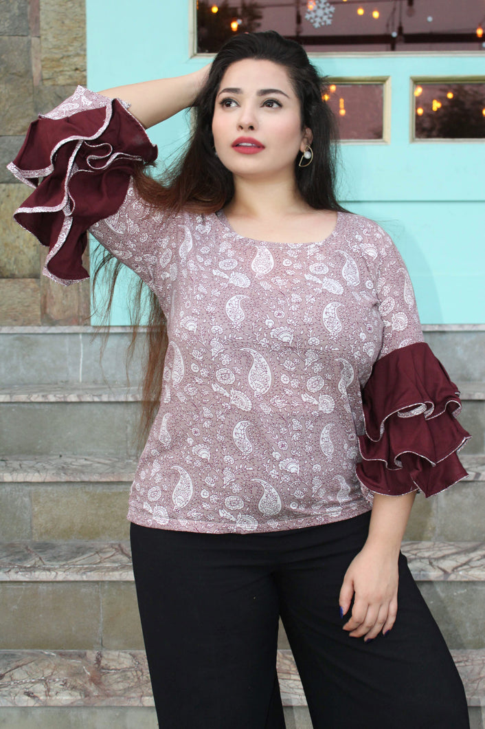 Burgundy Frill Backless Top - qamsin-a-timeless-beauty