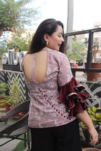 Load image into Gallery viewer, Burgundy Frill Backless Top - Pink Official
