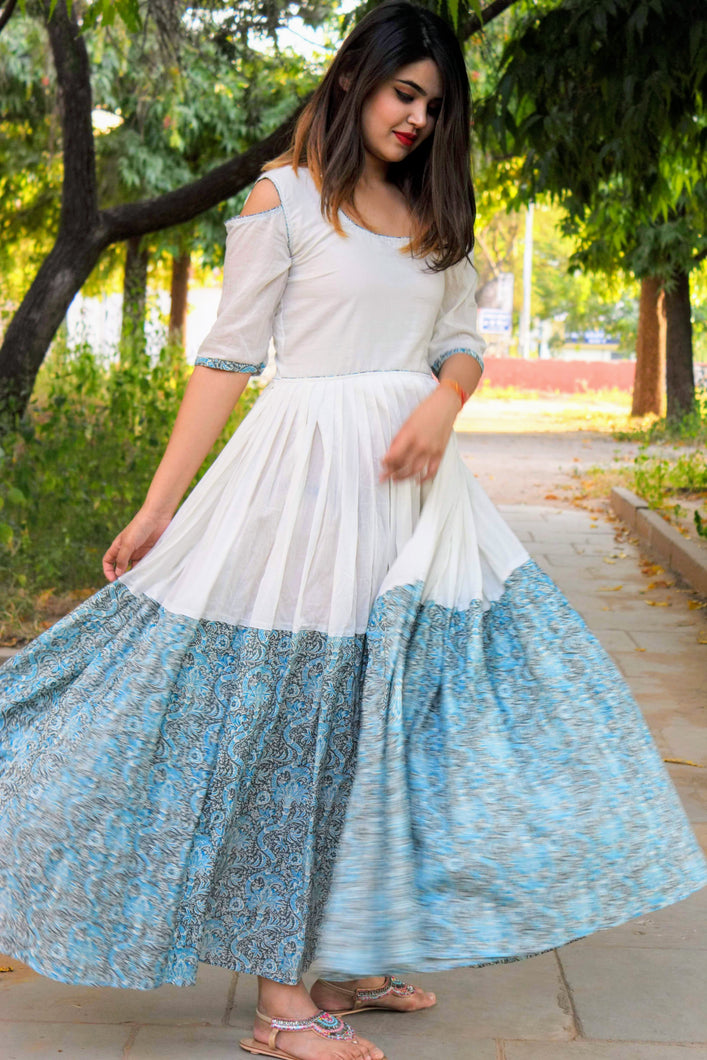 White Blue Backless Dress - Qamsin