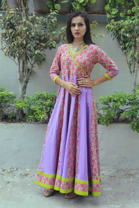 Purple Jaal Floral Dress - Qamsin