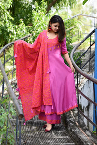 Purple Bandhani Suit Set - Pink Official