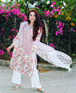 Nerine Floral Chanderi Suit Set - Qamsin