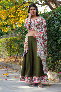 Olive Green Floral Bageecha Lehenga Set - Pink Official
