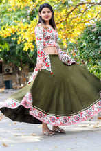 Load image into Gallery viewer, Olive Green Floral Bageecha Lehenga Set - Pink Official