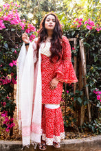 Load image into Gallery viewer, Red Bandhani Chanderi Suit Set - Pink Official