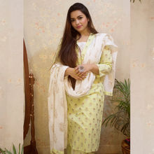 Load image into Gallery viewer, Pastel Yellow Golden Butta Suit Set - Qamsin