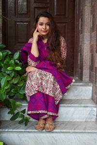 Mughal Butta Purple Bandhej Suit Set - Pink Official